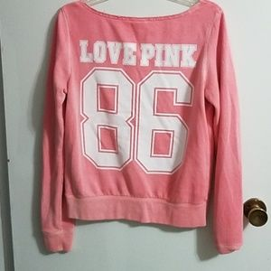 Pink sweatshirt- color is peach-coral